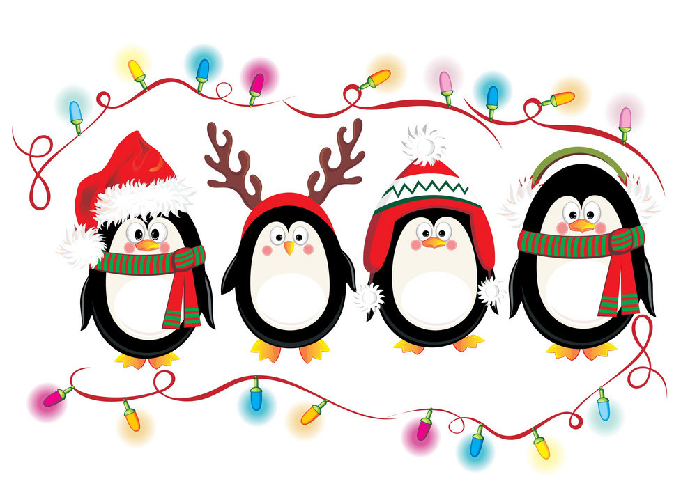 Merry Christmas Card With Penguins Vector 1728843