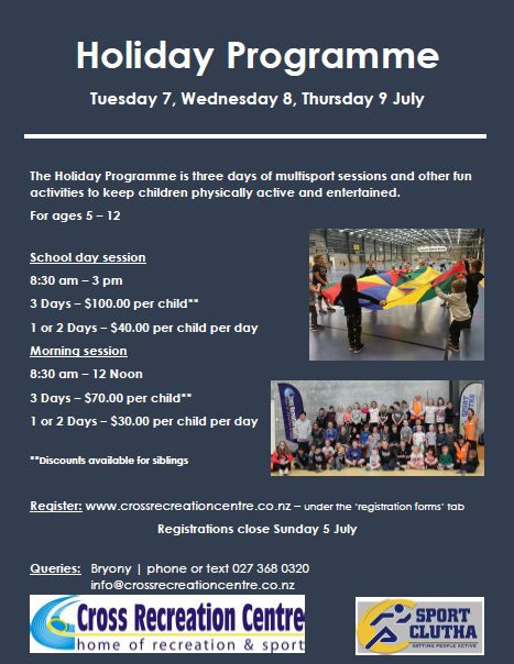 Sport Clutha Holiday Programme July 2020